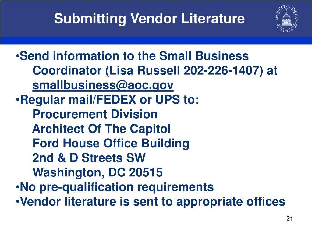 Submitting Vendor Literature