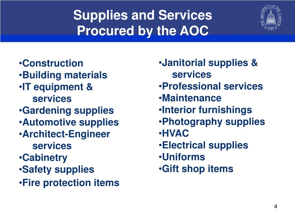 Supplies and Services
