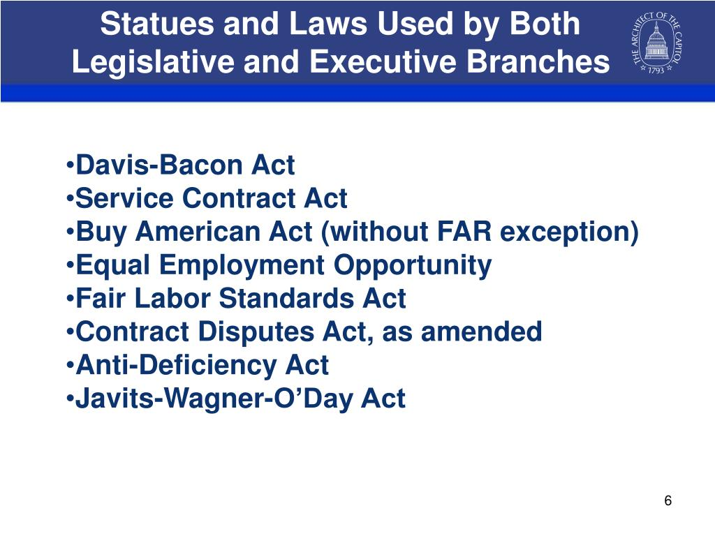 Statues and Laws Used by Both Legislative and Executive Branches