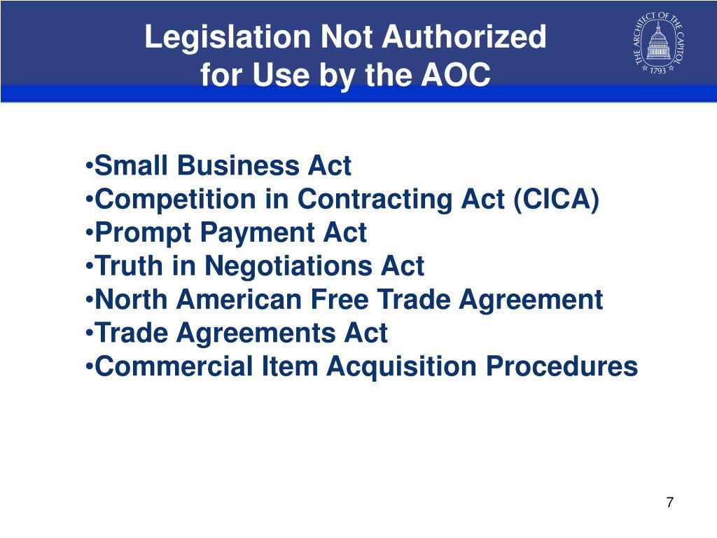 Legislation Not Authorized