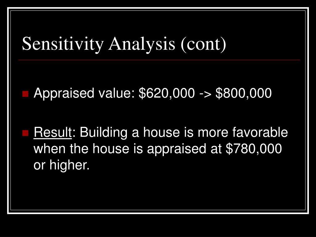Sensitivity Analysis (cont)
