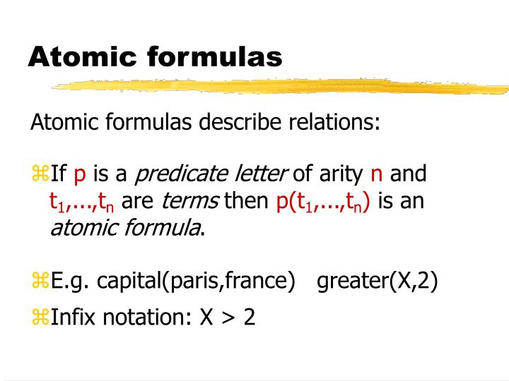 Atomic formulas