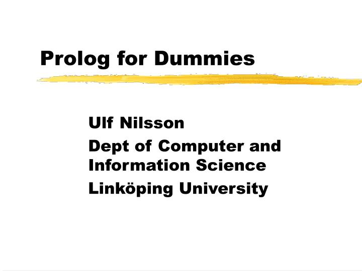 Prolog for dummies