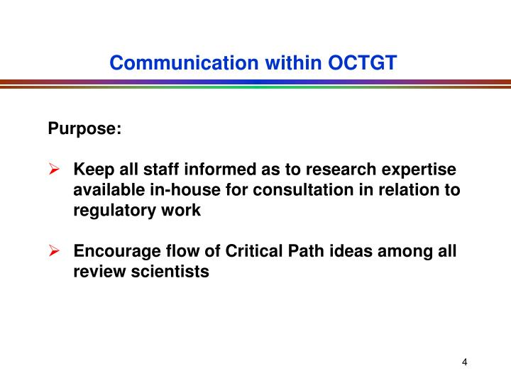 Communication within OCTGT