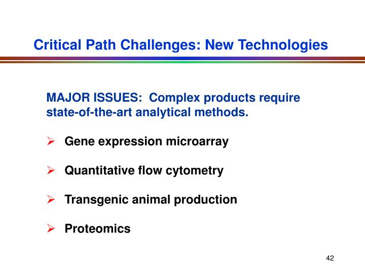 Critical Path Challenges: New Technologies