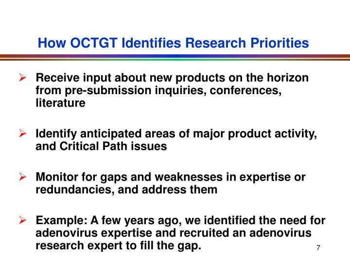 How OCTGT Identifies Research Priorities