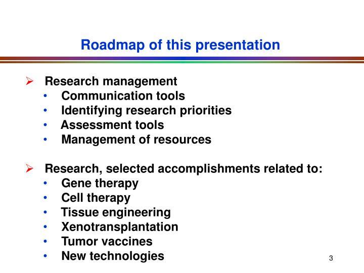Roadmap of this presentation