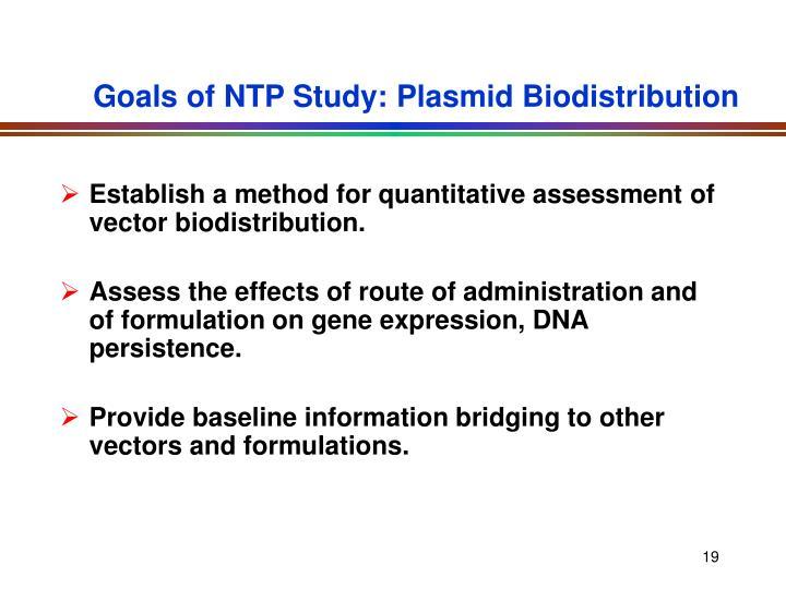 Goals of NTP Study: Plasmid Biodistribution