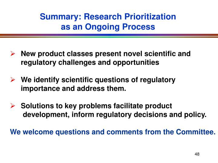 Summary: Research Prioritization