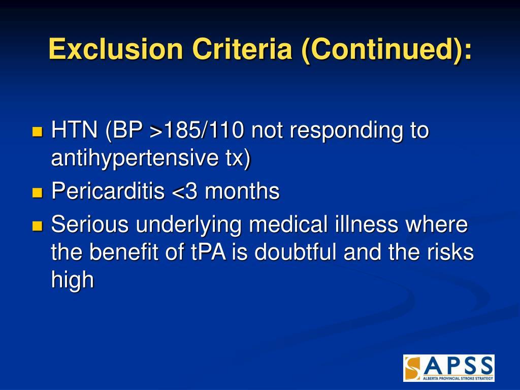 Exclusion Criteria (Continued):