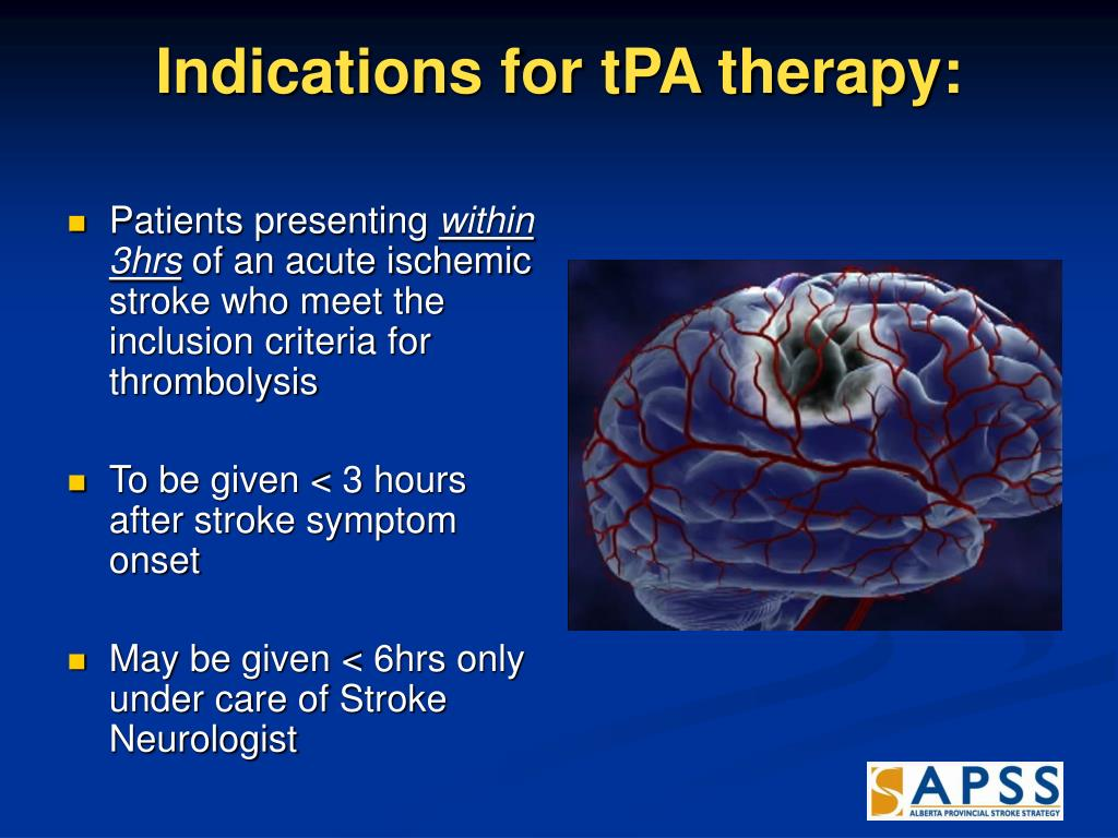 Indications for tPA therapy:
