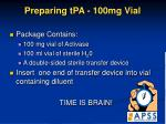 preparing tpa 100mg vial
