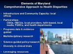 elements of maryland comprehensive approach to health disparities