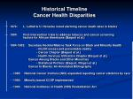 historical timeline cancer health disparities