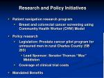 research and policy initiatives