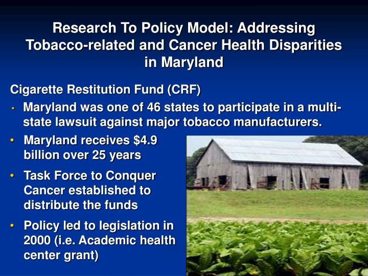 Research To Policy Model: Addressing Tobacco-related and Cancer Health Disparities in Maryland