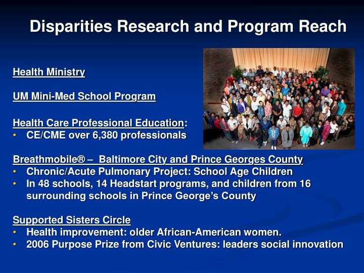 Disparities Research and Program Reach