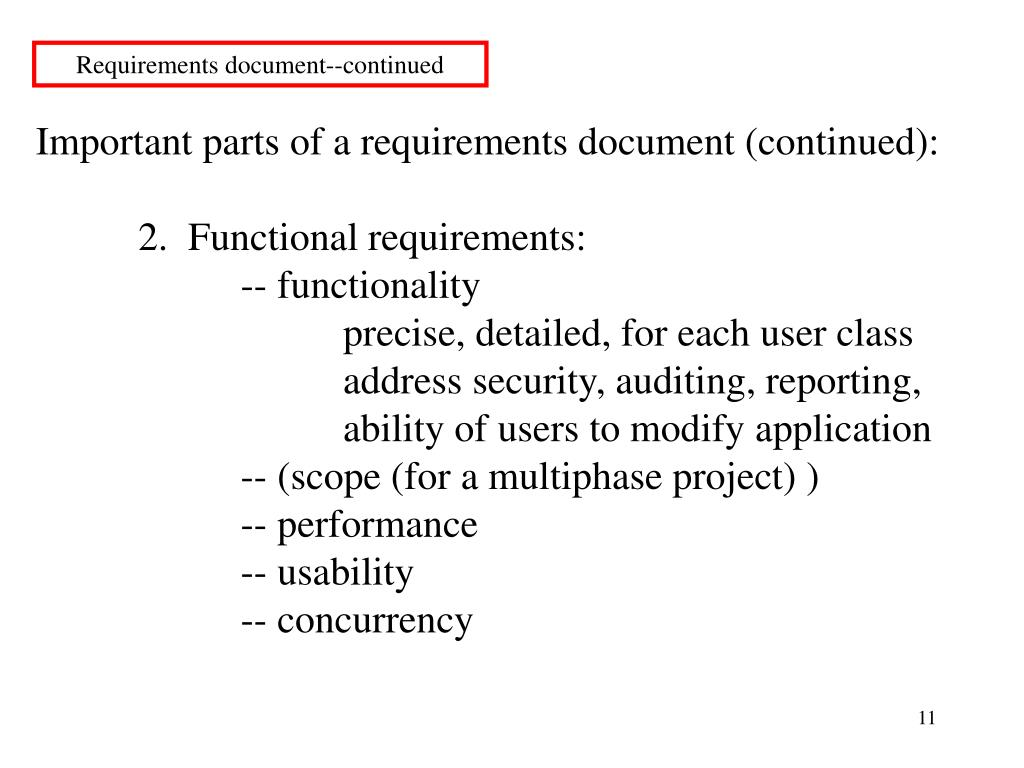 Requirements document--continued