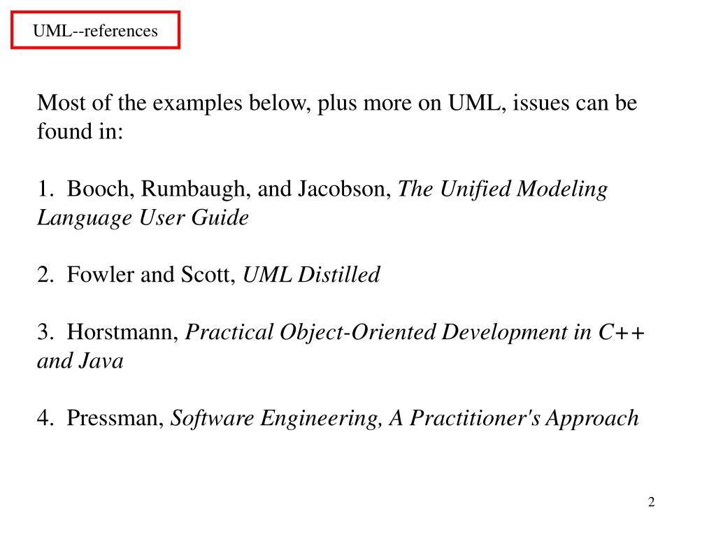 Most of the examples below, plus more on UML, issues can be found in: