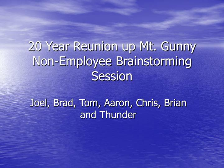 20 year reunion up mt gunny non employee brainstorming session