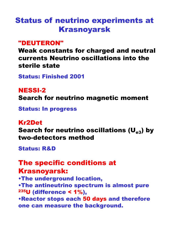 Status of neutrino experiments at Krasnoyarsk