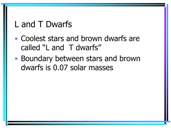 L and T Dwarfs