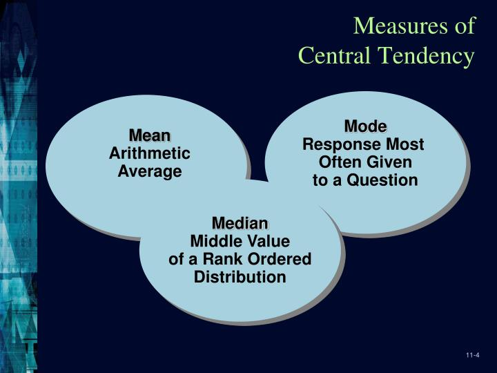 how were measures of central tendency used in the study Measures of central tendency a sample is a subset of the population, for example, we might collect data on the number of home runs hit by miguel cabrera in a random sample of 20 games.