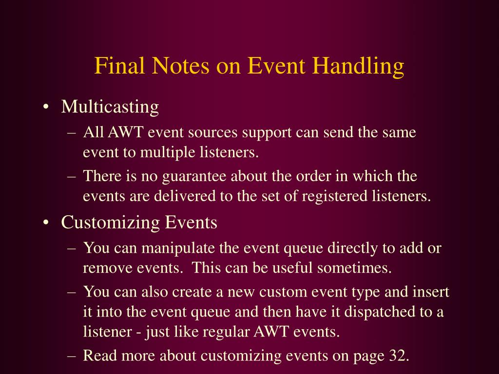 Final Notes on Event Handling