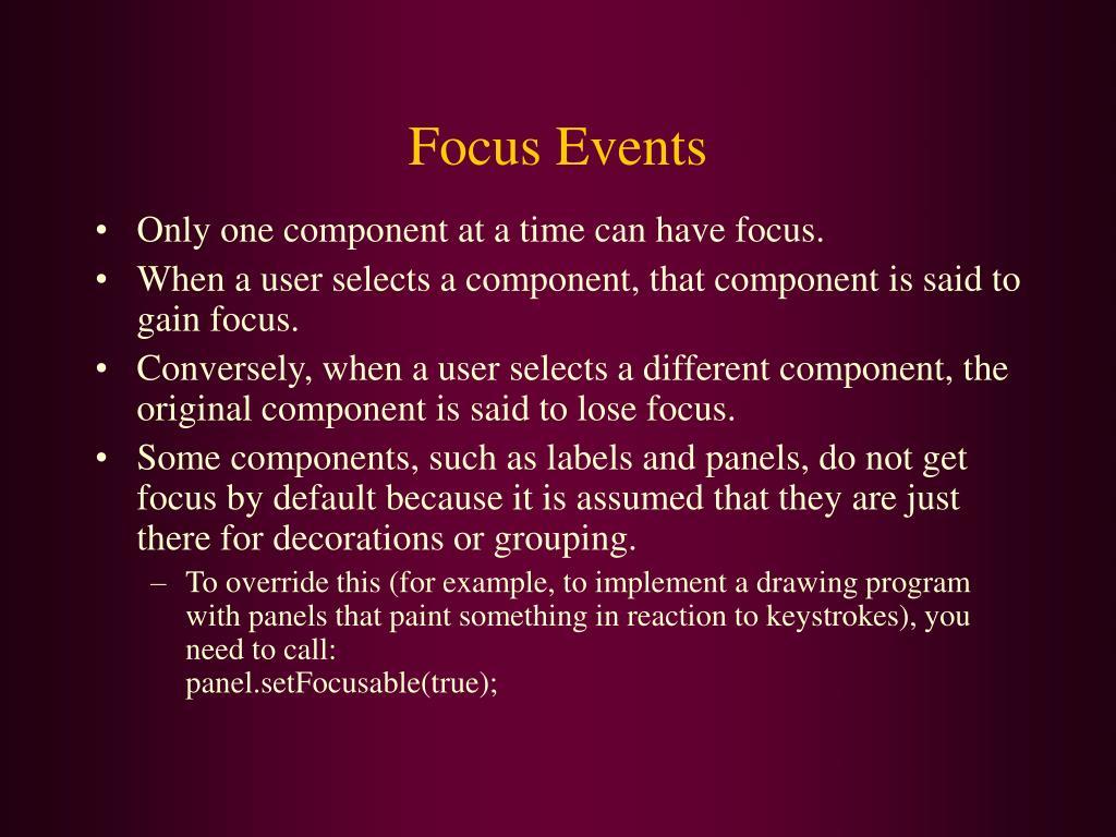 Focus Events