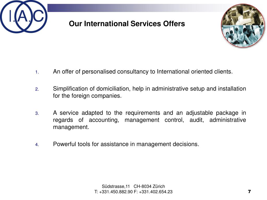 Our International Services Offers