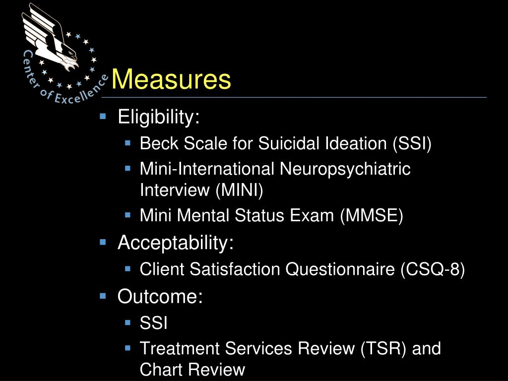 Motivational Interviewing To Address Suicidal Ideation (MI-SI): A Pilot Study PowerPoint
