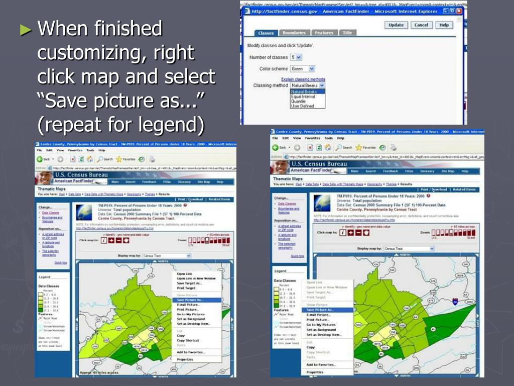"""When finished customizing, right click map and select """"Save picture as..."""" (repeat for legend)"""