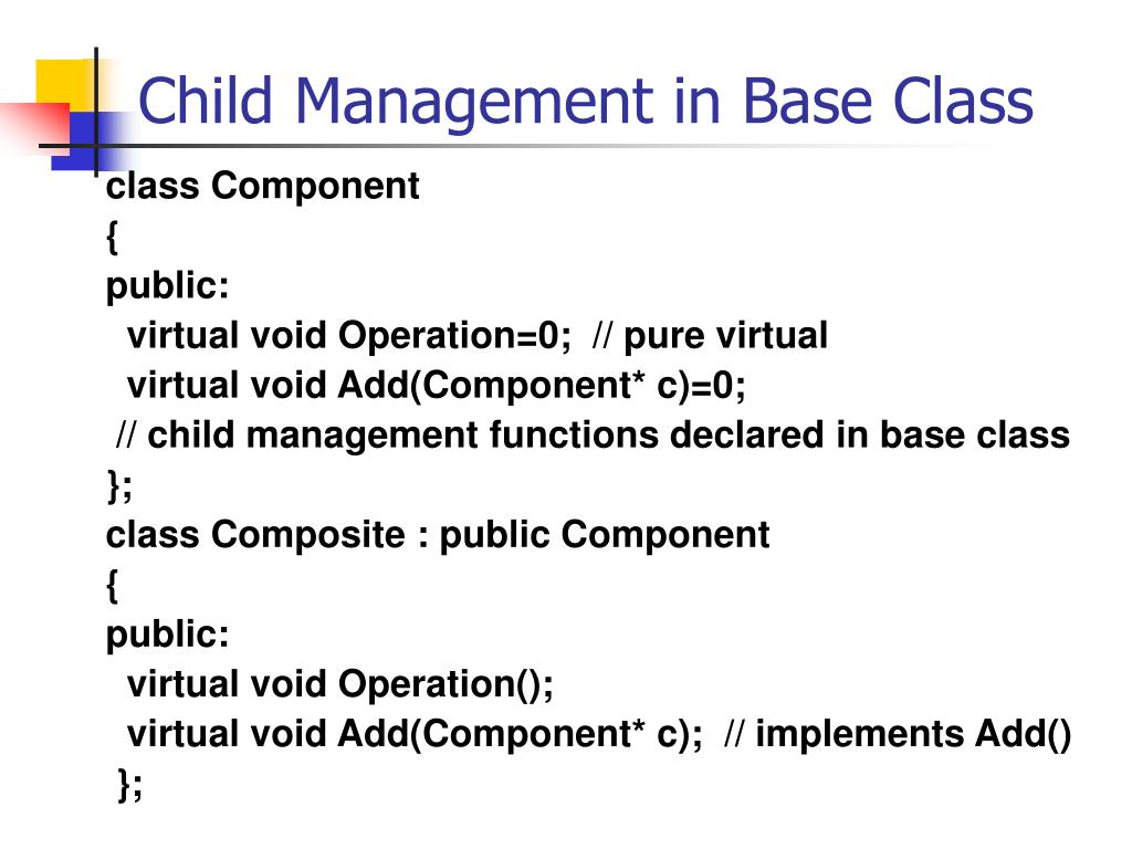 Child Management in Base Class