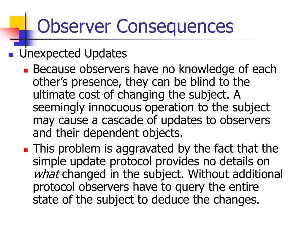 Observer Consequences