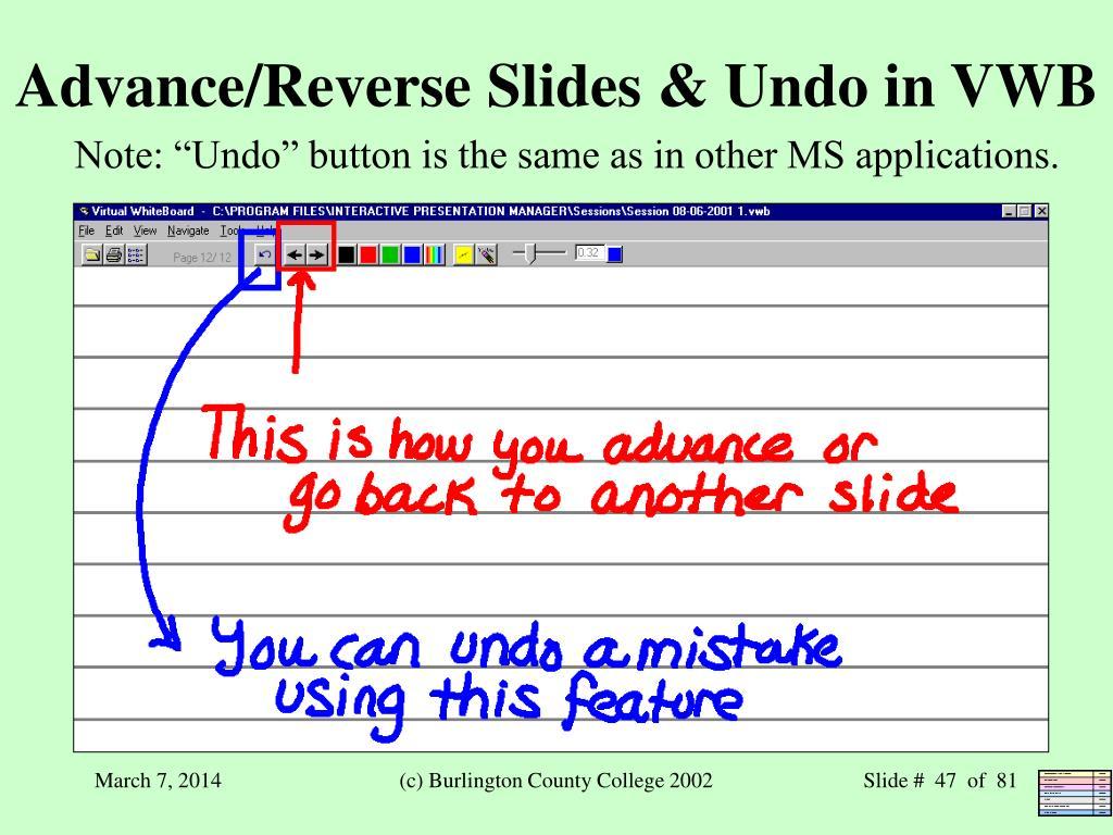 Advance/Reverse Slides & Undo in VWB