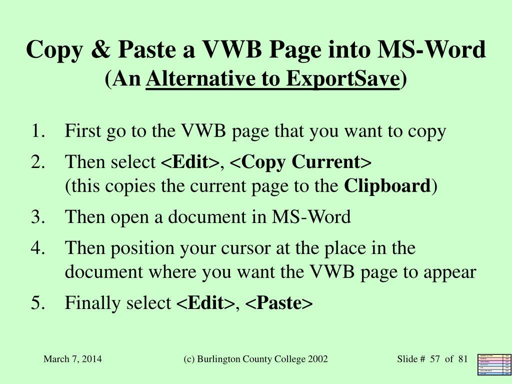Copy & Paste a VWB Page into MS-Word