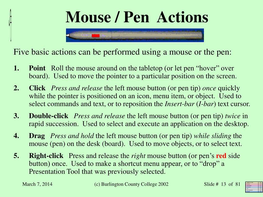 Mouse / Pen  Actions