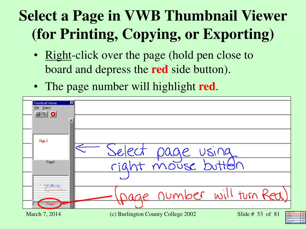 Select a Page in VWB Thumbnail Viewer