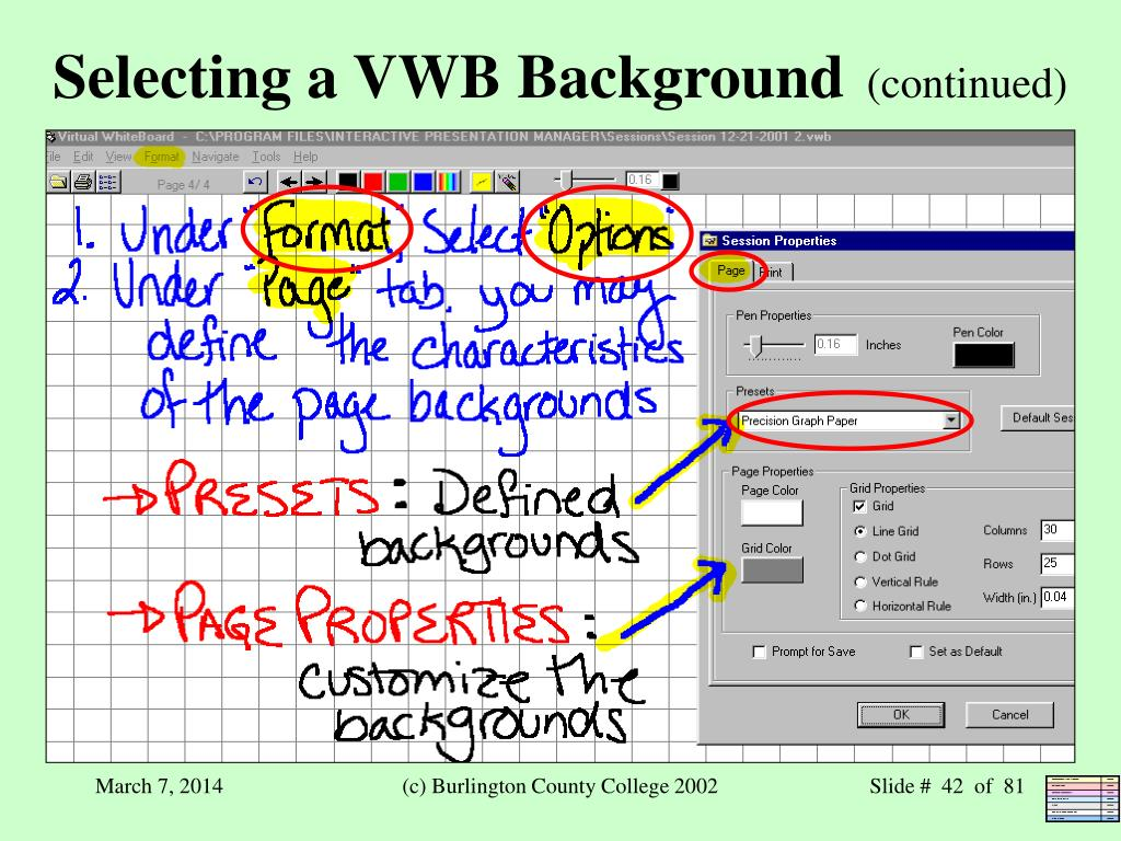 Selecting a VWB Background