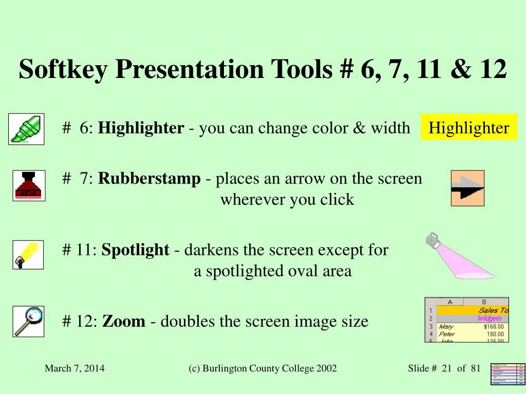 Softkey Presentation Tools # 6, 7, 11 & 12