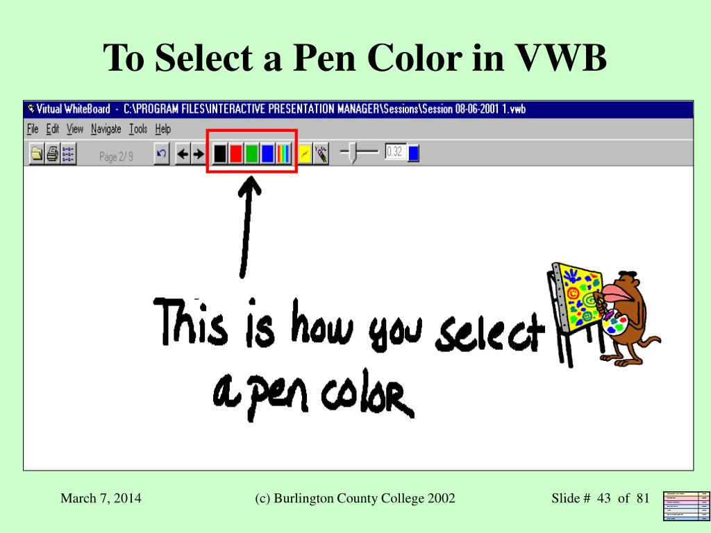 To Select a Pen Color in VWB