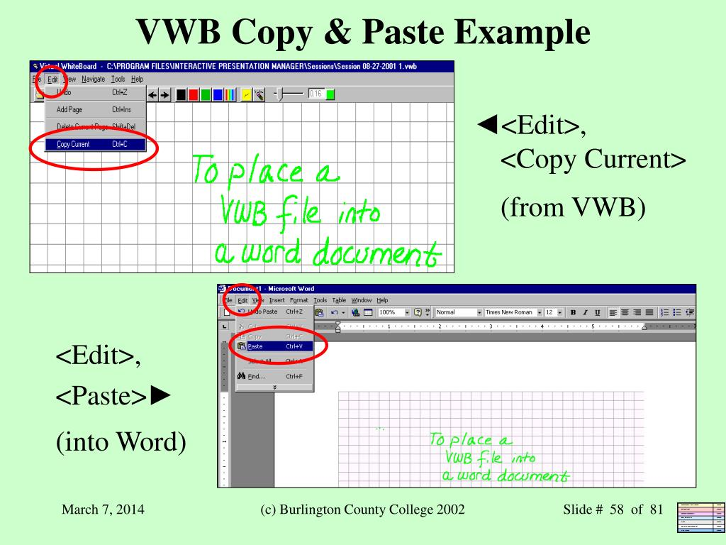 VWB Copy & Paste Example