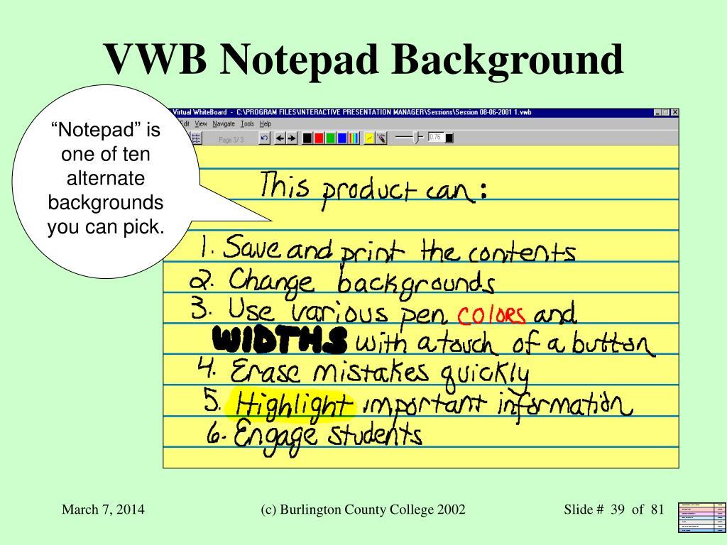 VWB Notepad Background