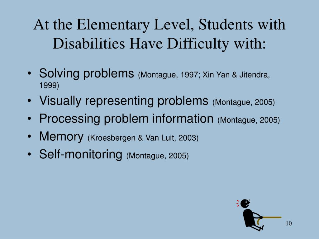 At the Elementary Level, Students with Disabilities Have Difficulty with: