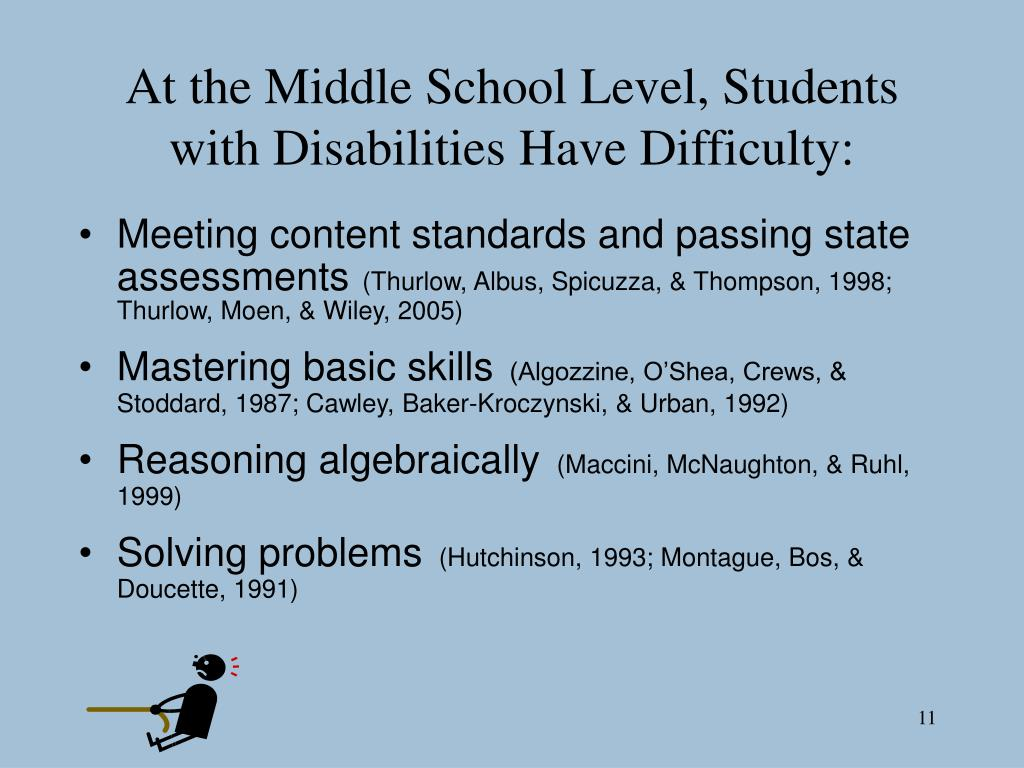 At the Middle School Level, Students with Disabilities Have Difficulty:
