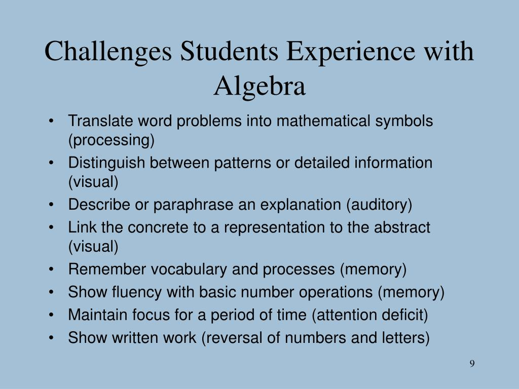 Challenges Students Experience with Algebra