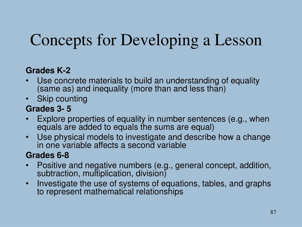 Concepts for Developing a Lesson