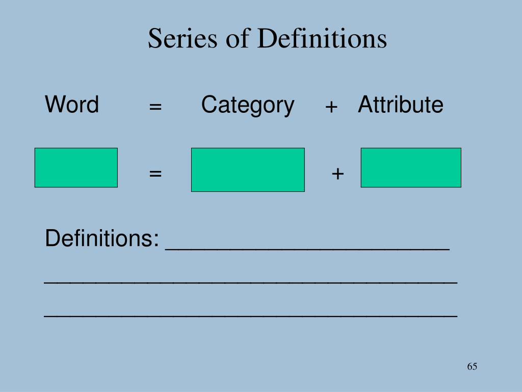 Series of Definitions