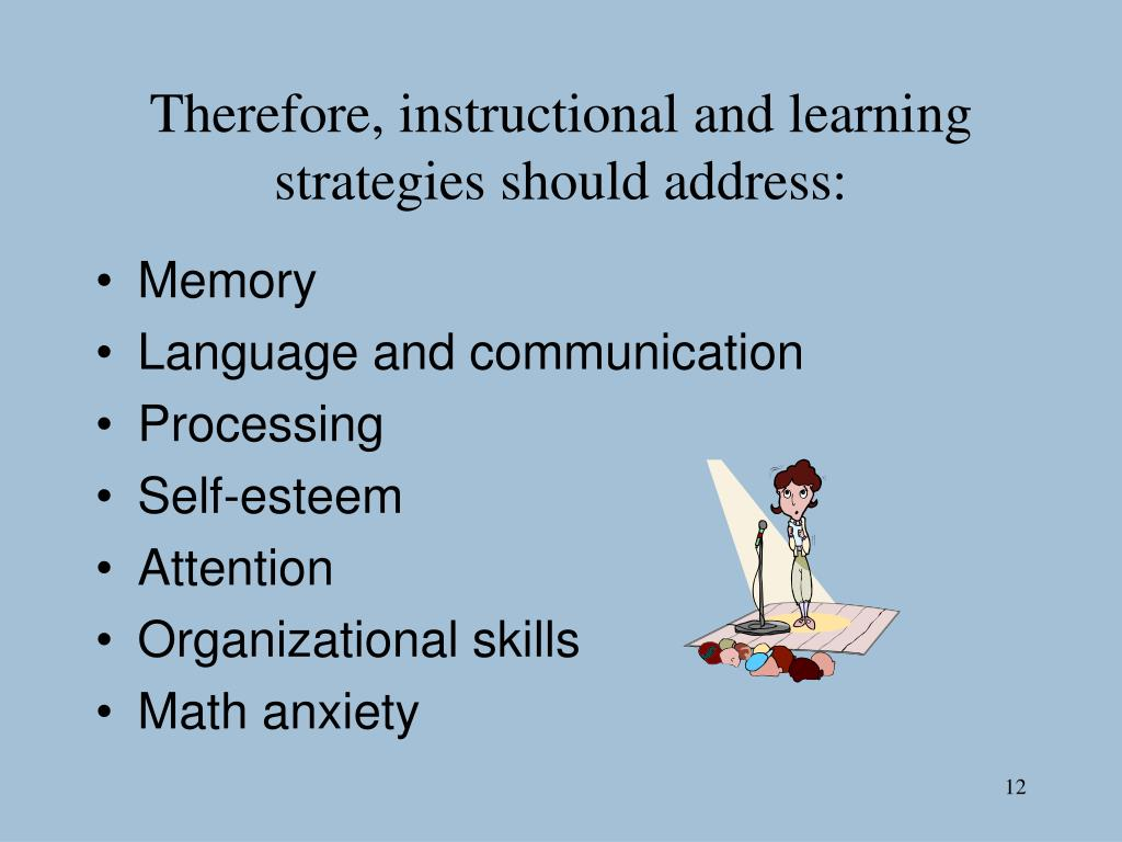 Therefore, instructional and learning strategies should address: