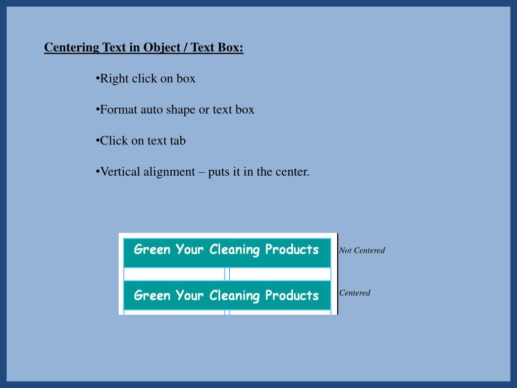 Centering Text in Object / Text Box: